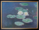 Water Lilies by Nightfall Poster by Claude Monet