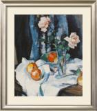 Roses In A Glass Vase Art by Samuel John Peploe