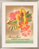 Matson Lines to Hawaii, Women with Lei Framed Giclee Print