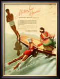 Matson, Surfboard by Hula Girl Framed Giclee Print