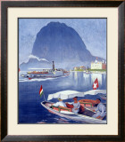 Lake Lugano Power Boat Framed Giclee Print