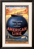 American Line, Southampton to New York, 1913 Framed Giclee Print