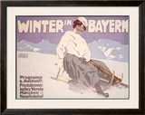 Bavarian Winter Snow Sports Framed Giclee Print