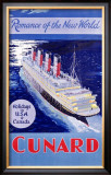 Cunard Line, Romance of the World Framed Giclee Print by  Jarvis