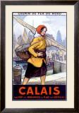 Port Calais Fishing Women Framed Giclee Print