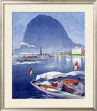 Lake Lugano Power Boat Framed Giclee Print