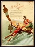 Matson, Surfboard by Hula Girl Framed Giclee Print