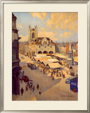Peterborough market place Framed Giclee Print by Bertram Prance