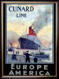 Cunard Line, Europe to America Framed Giclee Print