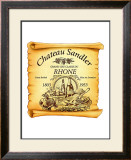 Rhone Wine Label Framed Giclee Print