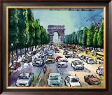 Arc de Triomphe and Avenue des Champs Elysees Posters by Michael Leu