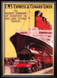 LMS Express and Cunard Liner Framed Giclee Print by P. Erwin Brown