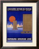 Hamburg America Orient Oceanline Poster Framed Giclee Print