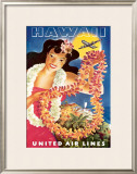 Hawaii via United Airlines Framed Giclee Print by  Feher