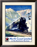 North Coast Limited Railroad, Montana Rockies Framed Giclee Print