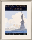 French Line, New York to Paris Framed Giclee Print
