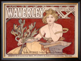 Waverley Cycles Framed Giclee Print by Alphonse Mucha