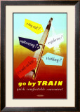 Go by Train, Quick, Comfortable, Convenient Framed Giclee Print by John Ferguson