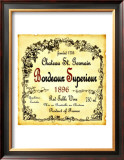 Bordeaux Wine Label Framed Giclee Print