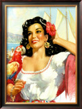 Senorita with Parrot Framed Giclee Print