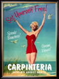 Carpinteria, World's Safest Beach Framed Giclee Print