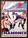 Chamonix, Hockey Framed Giclee Print by Roger Broders
