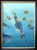 Deep Sea Fishing Framed Giclee Print by Gary Patterson