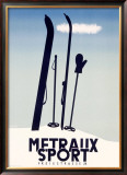 Metraux Downhill Ski Sports Framed Giclee Print