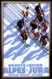 French Alps Snow Ski Framed Giclee Print