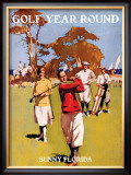 Sunny Florida, Golf Year Round Framed Giclee Print