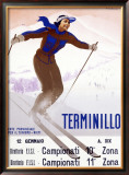 Terminillo, Women Snow and Ski Framed Giclee Print by Giuseppe Riccobaldi