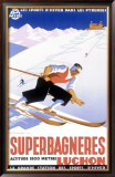Luchon Superbagneres, Snow Ski Framed Giclee Print by Gaston Gorde