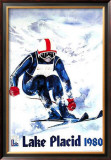 Lake Placid 1980 - Skier Text Print by John Gallucci