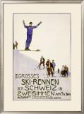Rennen Der Schweiz, Ski Framed Giclee Print by Emil Cardinaux