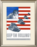 WWII, Keep 'Em Rolling Tank Framed Giclee Print