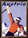 Austria Ski Vacation Framed Giclee Print by Joseph Binder