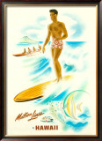Matson Lines in Hawaii, Surfer Framed Giclee Print by Frank Mcintosh