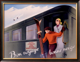 French Alps Railway, Ski Framed Giclee Print