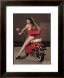 Motorcycle Pin-Up Girl Framed Giclee Print by David Perry