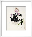 Celia in a Black Dress with White Flowers No. 48 Print by David Hockney