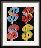 Four Dollar Signs, c.1982 (blue, red, orange, yellow) Print by Andy Warhol