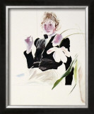 Celia in a Black Dress with White Flowers No. 48 Prints by David Hockney