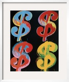 Four Dollar Signs, c.1982 (blue, red, orange, yellow) Art by Andy Warhol