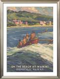On the Beach at Waikiki Framed Giclee Print