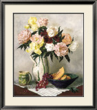Peach Peonies and Irises Posters by Joe Anna Arnett