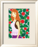 Girl with a Long Hair Surrounded by Flowers Poster by Hiromi Taguchi