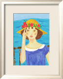Girl with a Straw Hat Who Stands by the Sea Prints by Hiromi Taguchi