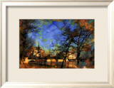 Notre-Dame over La Seine, Paris, France Framed Giclee Print by Nicolas Hugo