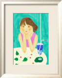 Soda Pop and a Girl in a Turquoise Afternoon Poster by Hiromi Taguchi