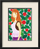 Girl with a Long Hair Surrounded by Flowers Prints by Hiromi Taguchi